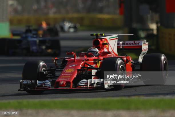 Kimi Raikkonen of Finland driving the Scuderia Ferrari SF70H on track during the Australian Formula One Grand Prix at Albert Park on March 26 2017 in...