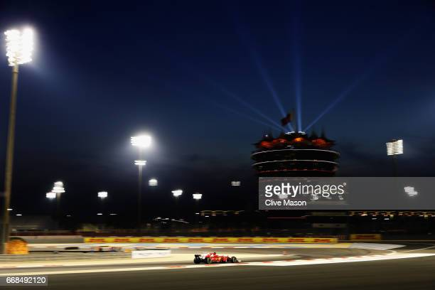 Kimi Raikkonen of Finland driving the Scuderia Ferrari SF70H on track during practice for the Bahrain Formula One Grand Prix at Bahrain International...