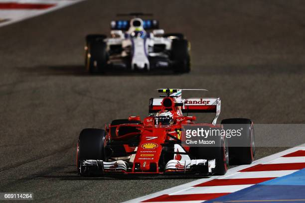 Kimi Raikkonen of Finland driving the Scuderia Ferrari SF70H on track during the Bahrain Formula One Grand Prix at Bahrain International Circuit on...