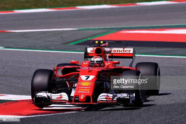 Kimi Raikkonen of Finland driving the Scuderia Ferrari SF70H on track during final practice for the Spanish Formula One Grand Prix at Circuit de...