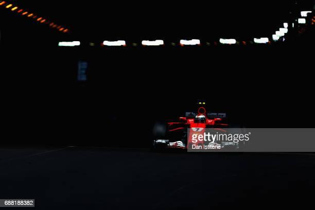 Kimi Raikkonen of Finland driving the Scuderia Ferrari SF70H on track during practice for the Monaco Formula One Grand Prix at Circuit de Monaco on...