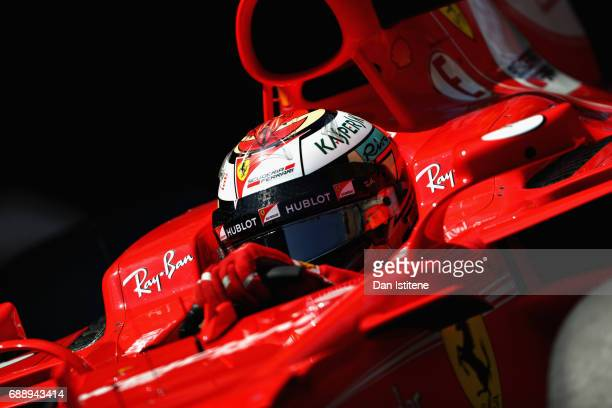 Kimi Raikkonen of Finland driving the Scuderia Ferrari SF70H on track during qualifying for the Monaco Formula One Grand Prix at Circuit de Monaco on...