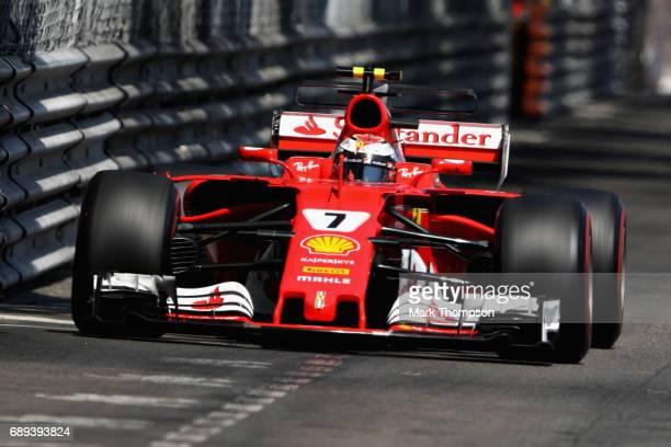 Kimi Raikkonen of Finland driving the Scuderia Ferrari SF70H on track during the Monaco Formula One Grand Prix at Circuit de Monaco on May 28 2017 in...