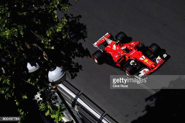 Kimi Raikkonen of Finland driving the Scuderia Ferrari SF70H on track during final practice for the Azerbaijan Formula One Grand Prix at Baku City...