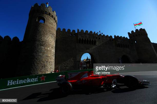 Kimi Raikkonen of Finland driving the Scuderia Ferrari SF70H on track during qualifying for the Azerbaijan Formula One Grand Prix at Baku City...