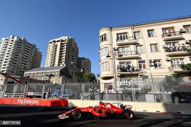 Kimi Raikkonen of Finland driving the Scuderia Ferrari SF70H on track during the Azerbaijan Formula One Grand Prix at Baku City Circuit on June 25...