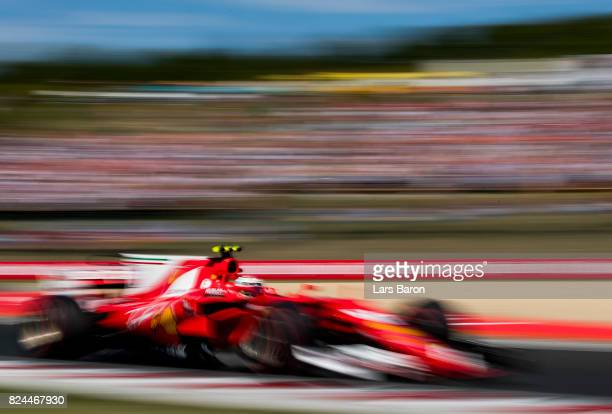 Kimi Raikkonen of Finland driving the Scuderia Ferrari SF70H on track during the Formula One Grand Prix of Hungary at Hungaroring on July 30 2017 in...