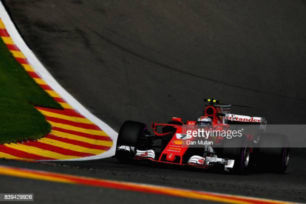 Kimi Raikkonen of Finland driving the Scuderia Ferrari SF70H on track during final practice for the Formula One Grand Prix of Belgium at Circuit de...