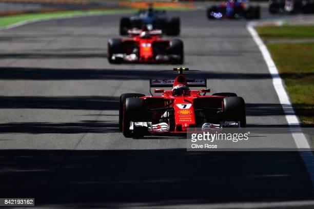 Kimi Raikkonen of Finland driving the Scuderia Ferrari SF70H on track during the Formula One Grand Prix of Italy at Autodromo di Monza on September 3...