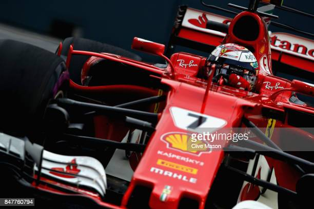 Kimi Raikkonen of Finland driving the Scuderia Ferrari SF70H on track during final practice for the Formula One Grand Prix of Singapore at Marina Bay...