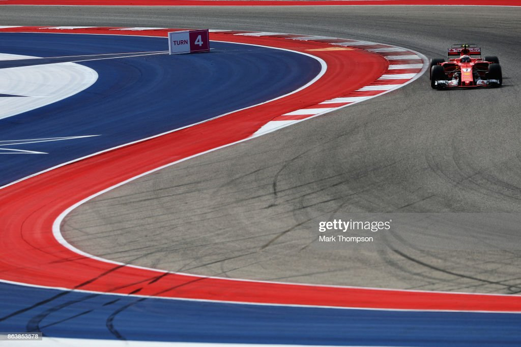 Kimi Raikkonen of Finland driving the (7) Scuderia Ferrari SF70H on track during practice for the United States Formula One Grand Prix at Circuit of The Americas on October 20, 2017 in Austin, Texas.