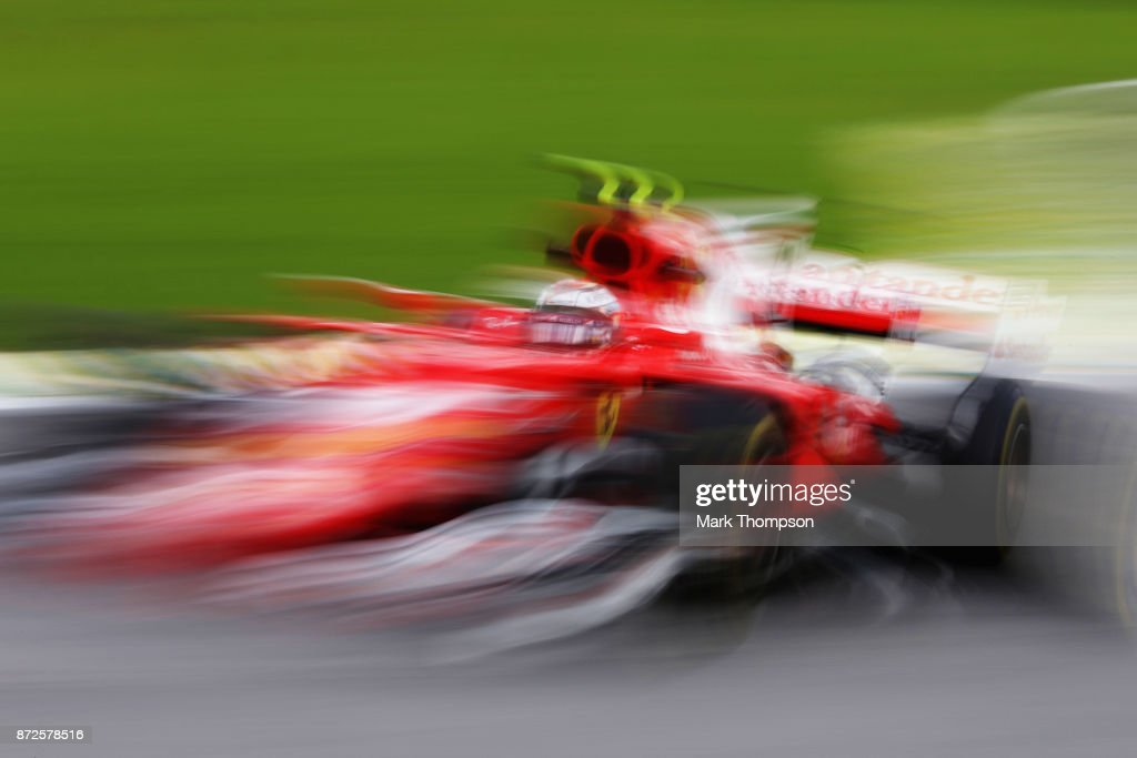 Kimi Raikkonen of Finland driving the (7) Scuderia Ferrari SF70H on track during practice for the Formula One Grand Prix of Brazil at Autodromo Jose Carlos Pace on November 10, 2017 in Sao Paulo, Brazil.