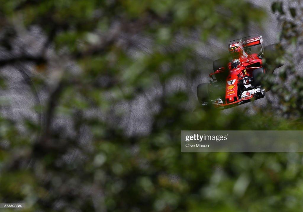 Kimi Raikkonen of Finland driving the (7) Scuderia Ferrari SF70H on track during the Formula One Grand Prix of Brazil at Autodromo Jose Carlos Pace on November 12, 2017 in Sao Paulo, Brazil.