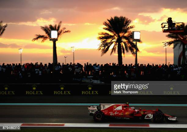 Kimi Raikkonen of Finland driving the Scuderia Ferrari SF70H on track during the Abu Dhabi Formula One Grand Prix at Yas Marina Circuit on November...
