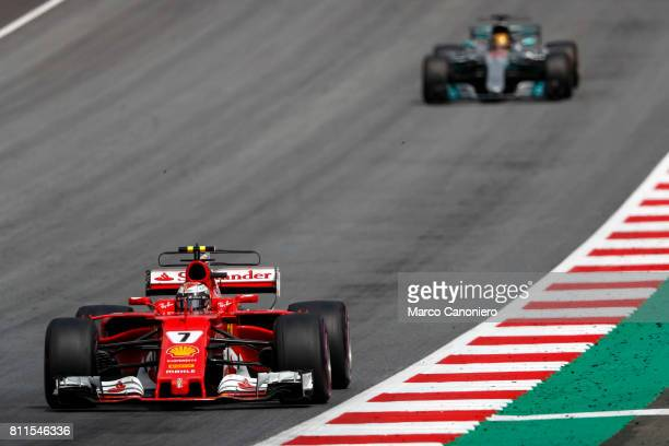 Kimi Raikkonen of Finland driving the Scuderia Ferrari SF70H runs wide during the Formula One Grand Prix of Austria