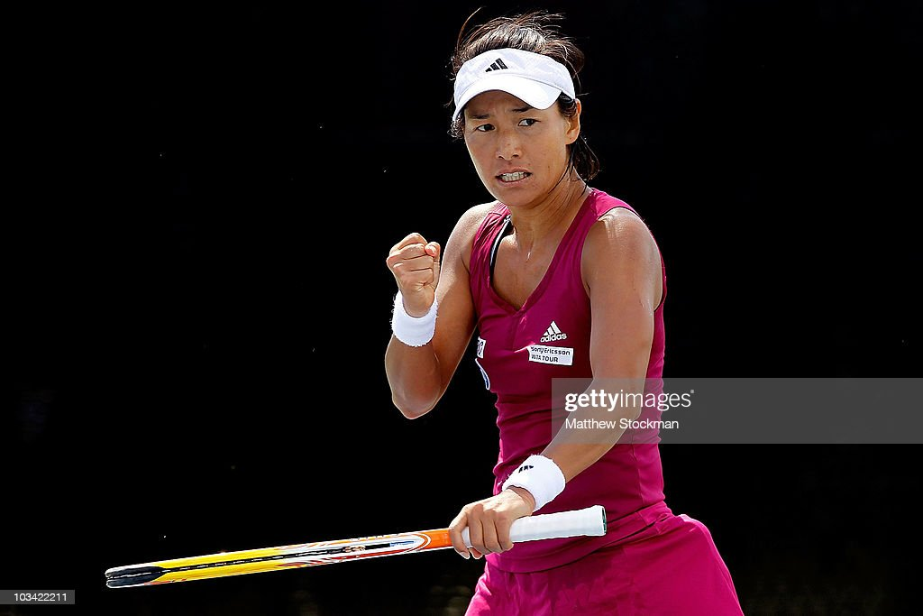 Kimiko Date Krumm of Japan celebrates a point against Monica Miculescu of Romania during the Rogers Cup at Stade Uniprix on August 17, 2010 in Montreal, Canada.