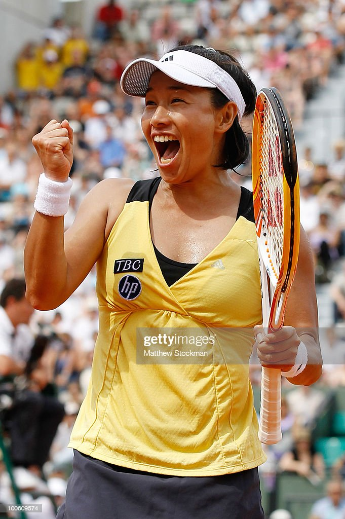 Kimiko Date Krumm of Japan celebrates winning match point in the women's singles first round match between Dinara Safina of Russia and Kimiko Date Krumm of Japan on day three of the French Open at Roland Garros on May 25, 2010 in Paris, France.