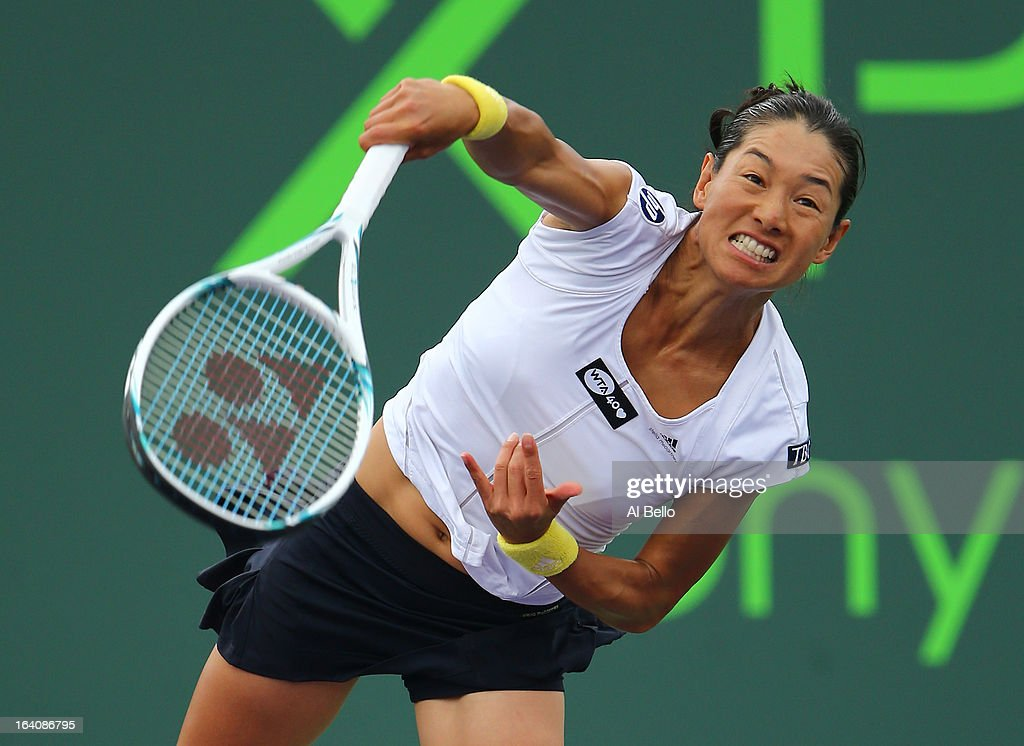 <a gi-track='captionPersonalityLinkClicked' href=/galleries/search?phrase=Kimiko+Date&family=editorial&specificpeople=623768 ng-click='$event.stopPropagation()'>Kimiko Date</a> Krumm of Japan in action against <a gi-track='captionPersonalityLinkClicked' href=/galleries/search?phrase=Chanelle+Scheepers&family=editorial&specificpeople=2271241 ng-click='$event.stopPropagation()'>Chanelle Scheepers</a> of South Africa during Day 2 of the Sony Open at the Crandon Park Tennis Center on March 19, 2013 in Key Biscayne, Florida.