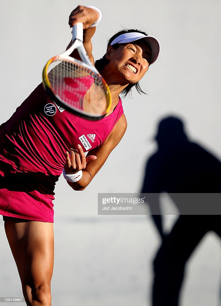 <a gi-track='captionPersonalityLinkClicked' href=/galleries/search?phrase=Kimiko+Date&family=editorial&specificpeople=623768 ng-click='$event.stopPropagation()'>Kimiko Date</a> Krumm of Japan serves against Elena Dementieva of Russia during Day 2 of the Bank of the West Classic at Stanford University on July 28, 2010 in Stanford, California.
