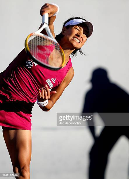 Kimiko Date Krumm of Japan serves against Elena Dementieva of Russia during Day 2 of the Bank of the West Classic at Stanford University on July 28...