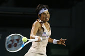 Kimiko Date of Japan in action during her women's singles match against Victoria Azarenka of Belarus during day two of the Toray Pan Pacific Open at...