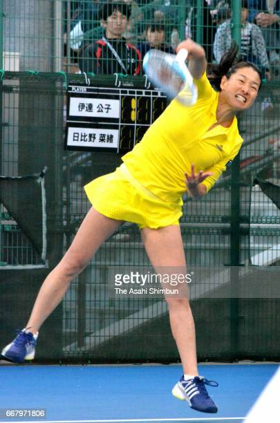 Kimiko Date serves during the exhibition match against Nao Hibino at Ehime Prefecture Sports Park Tennis Court on April 12 2017 in Matsuyama Ehime...