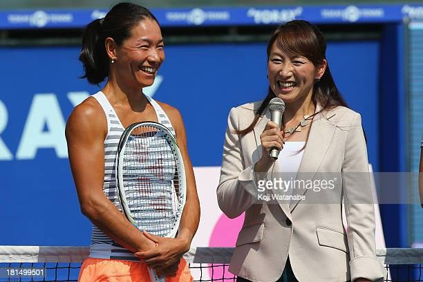 Kimiko DateKrumm and Ai Sugiyama at the opening ceremony during day one of the Toray Pan Pacific Open at Ariake Colosseum on September 22 2013 in...