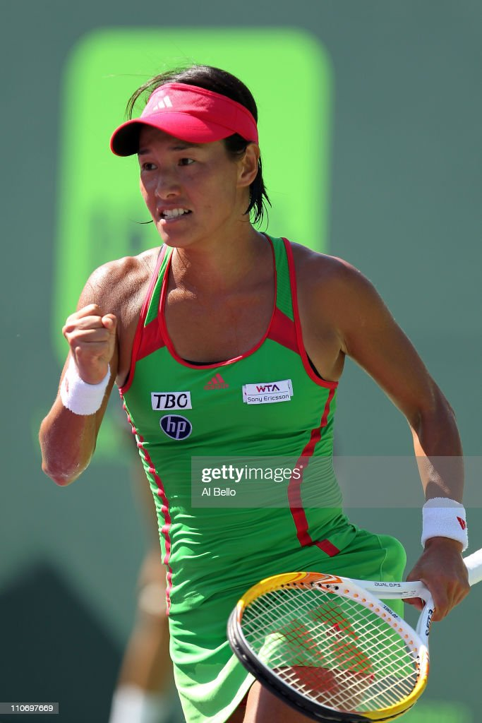 Kimiko DateKrumm of Japan celebrates after she won match point against Zuzana Ondraskova of during the Sony Ericsson Open at Crandon Park Tennis...