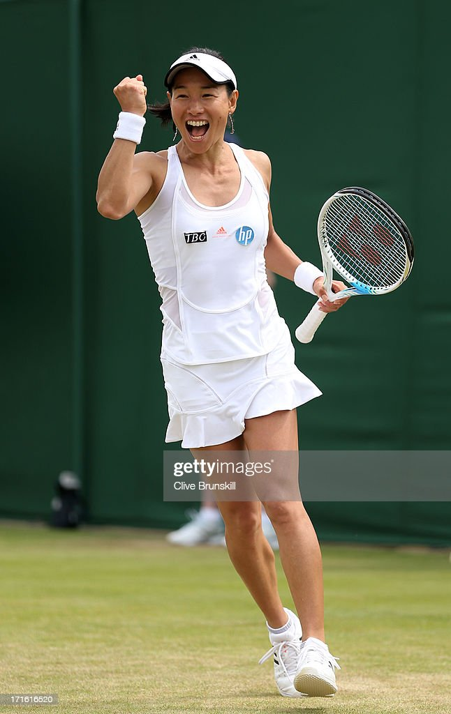 <a gi-track='captionPersonalityLinkClicked' href=/galleries/search?phrase=Kimiko+Date&family=editorial&specificpeople=623768 ng-click='$event.stopPropagation()'>Kimiko Date</a>-Krumm of Japan celebrates match point during the Ladies' Singles second round match against Alexandra Cadantu of Romania on day four of the Wimbledon Lawn Tennis Championships at the All England Lawn Tennis and Croquet Club on June 27, 2013 in London, England.