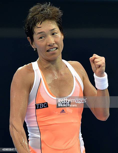Kimiko DateKrumm of Japan celebrates victory in her match against Olivia Rogowska of Australia during day one of the 2014 Brisbane International at...
