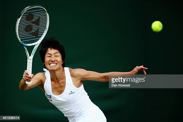 Kimiko DateKrumm of Japan during her Ladies Doubles Second round match with Barbora Zahlavova Strycova of Czech Republic against Ashleigh Barty and...