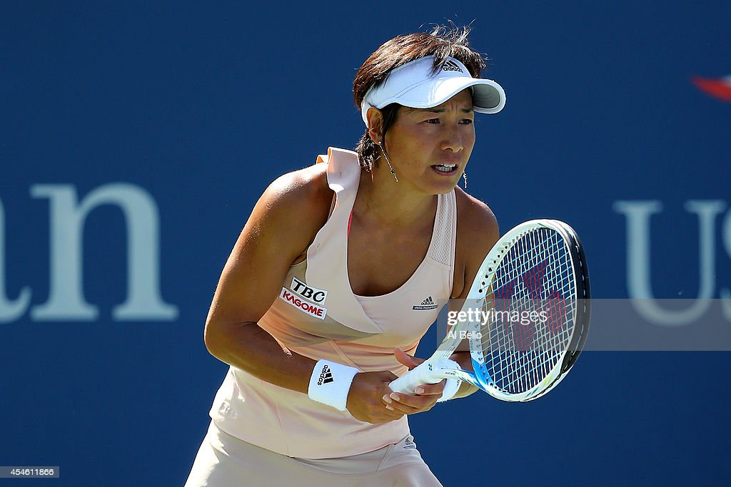 Kimiko DateKrumm of Japan during her women's doubles match on Day Eleven of the 2014 US Open at the USTA Billie Jean King National Tennis Center on...