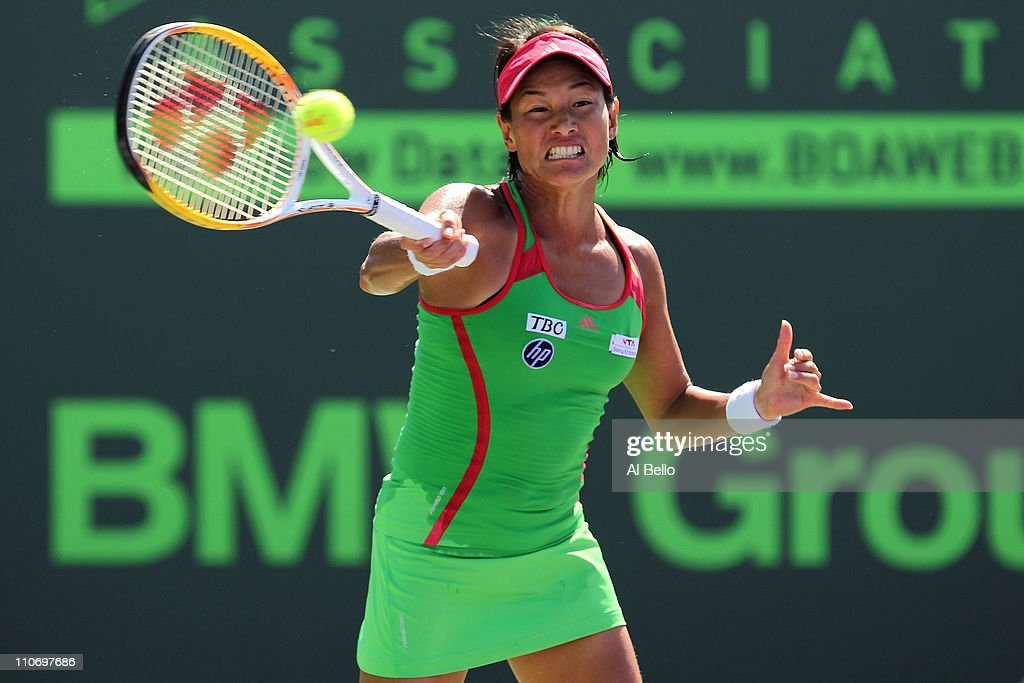 Kimiko Date-Krumm of Japan hits a forehand return against Zuzana Ondraskova of the Czech Republic during the Sony Ericsson Open at Crandon Park Tennis Center on March 23, 2011 in Key Biscayne, Florida.