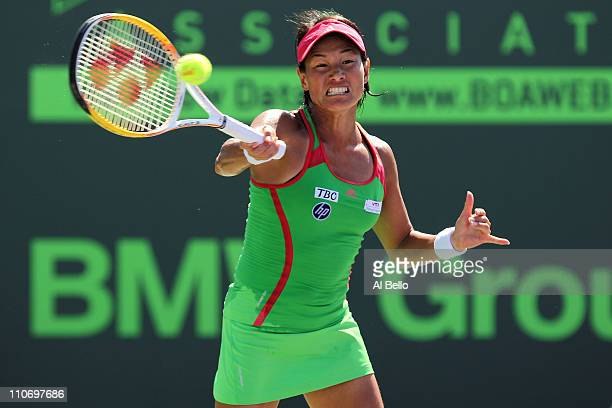 Kimiko DateKrumm of Japan hits a forehand return against Zuzana Ondraskova of the Czech Republic during the Sony Ericsson Open at Crandon Park Tennis...