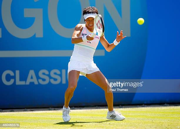 Kimiko DateKrumm of Japan in action during Day Four of the Aegon Classic at Edgbaston Priory Club on June 12 2014 in Birmingham England