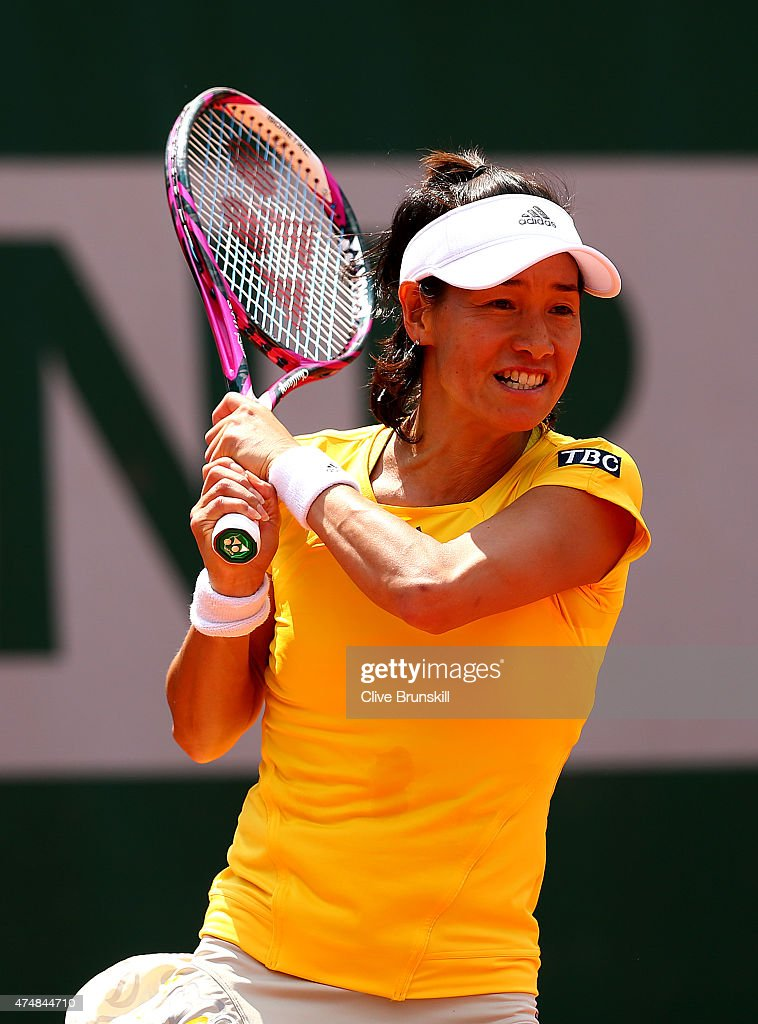 Kimiko DateKrumm of Japan in action during her Women's Doubles match with Francesca Schiavone of Italy against Petra Cetkovska of Czech Republic and...