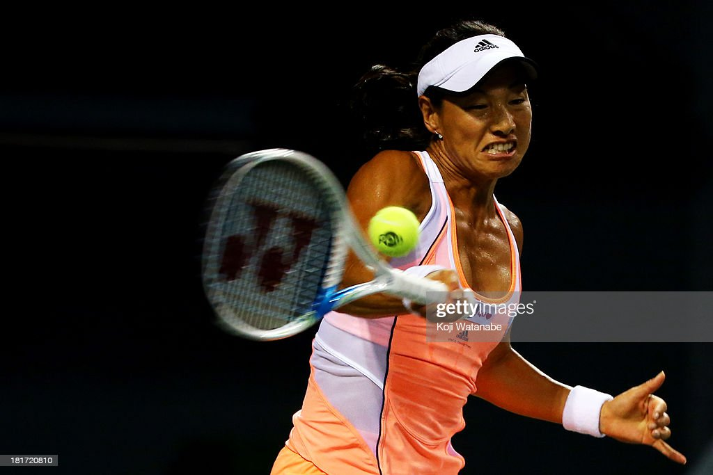 Kimiko Date-Krumm of Japan in action during her women's singles second round match against Samantha Stosur of Australia during day three of the Toray Pan Pacific Open at Ariake Colosseum on September 24, 2013 in Tokyo, Japan.