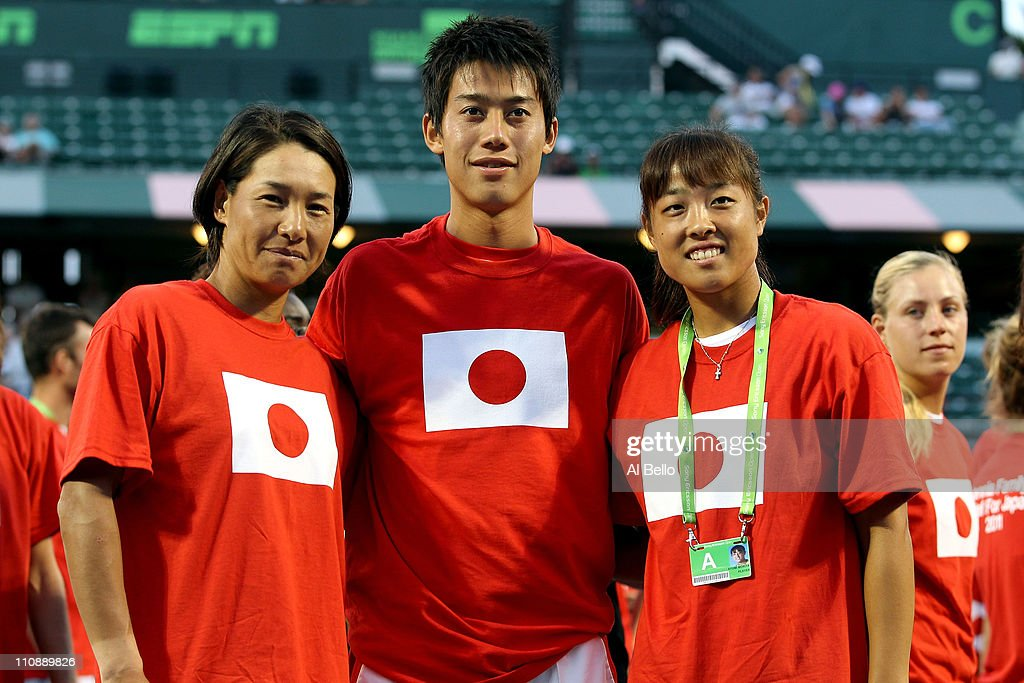 Kimiko DateKrumm of Japan Kei Nishikori of Japan and Ayumi Morita of Japan pose for a photo as part of 'Tennis Family for Japan Relief' during the...