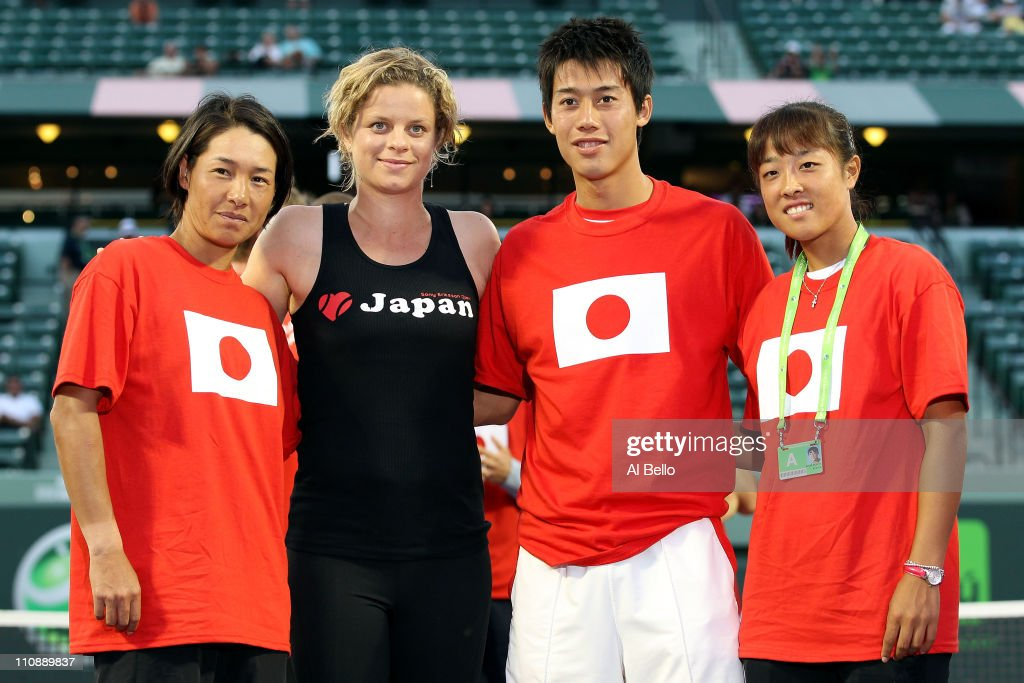 Kimiko Date-Krumm of Japan, Kim Clijsters of Belgium, Kei Nishikori of Japan and Ayumi Morita of Japan pose for a photo as part of 'Tennis Family for Japan Relief' during the Sony Ericsson Open at Crandon Park Tennis Center on March 25, 2011 in Key Biscayne, Florida.