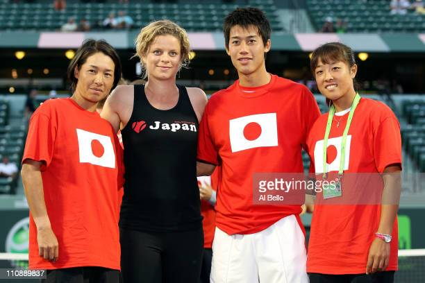 Kimiko DateKrumm of Japan Kim Clijsters of Belgium Kei Nishikori of Japan and Ayumi Morita of Japan pose for a photo as part of 'Tennis Family for...