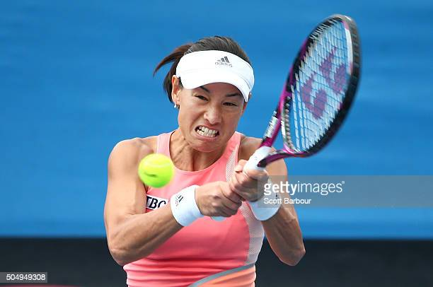 Kimiko DateKrumm of Japan plays a backhand in her match against Amandine Hesse of France during the first round of 2016 Australian Open Qualifying at...