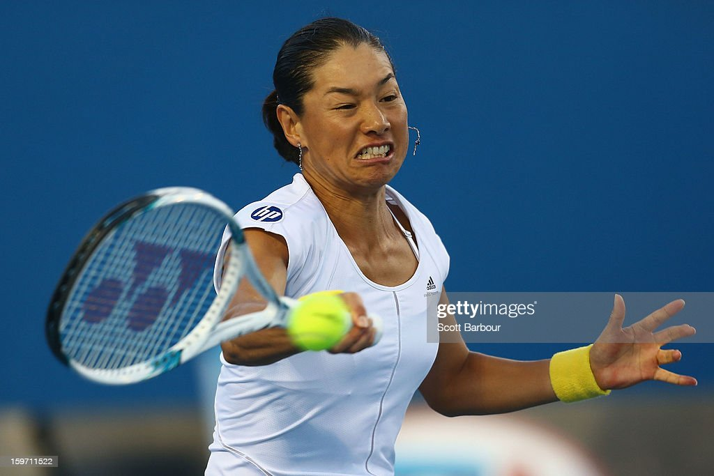 Kimiko Date-Krumm of Japan plays a forehand in her third round match against Bojana Jovanovski of Serbia during day six of the 2013 Australian Open at Melbourne Park on January 19, 2013 in Melbourne, Australia.