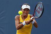 Kimiko DateKrumm of Japan plays against Karolina Pliskova of the Czech Republic during day four of the Bank of the West Classic at the Stanford...