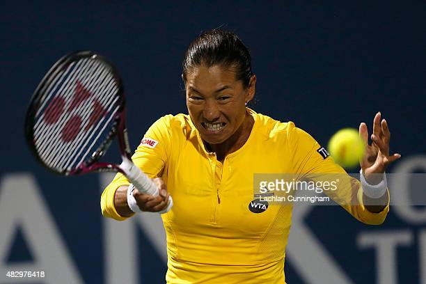 Kimiko DateKrumm of Japan plays against Sabine Lisicki of Germany during day two of the Bank of the West Classic at the Stanford University Taube...