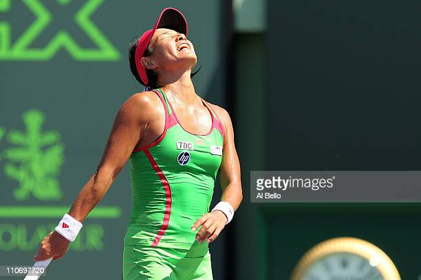 Kimiko DateKrumm of Japan reacts against Zuzana Ondraskova of the Czech Republic during the Sony Ericsson Open at Crandon Park Tennis Center on March...