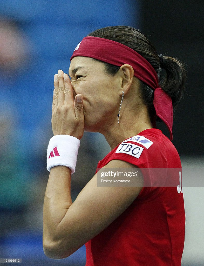 Kimiko Date-Krumm of Japan reacts during her match against Maria Kirilenko of Russia in the Federation Cup 2013 World Group Quarterfinal match between Russia and Japan, at Olympic Stadium on February 09, 2013 in Moscow, Russia.