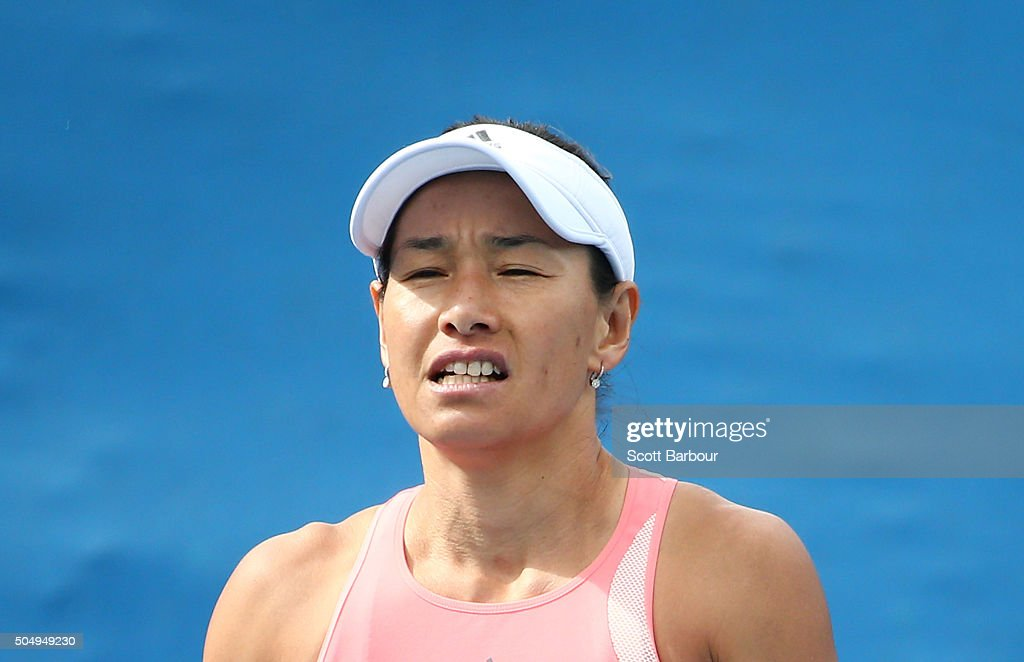 Kimiko DateKrumm of Japan reacts in her match against Amandine Hesse of France during the first round of 2016 Australian Open Qualifying at Melbourne...
