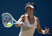 Kimiko DateKrumm of Japan returns a shot to Kaolina Pliskova of the Czech Republic during Day 1 of the Bank of the West Classic at the Taube Family...