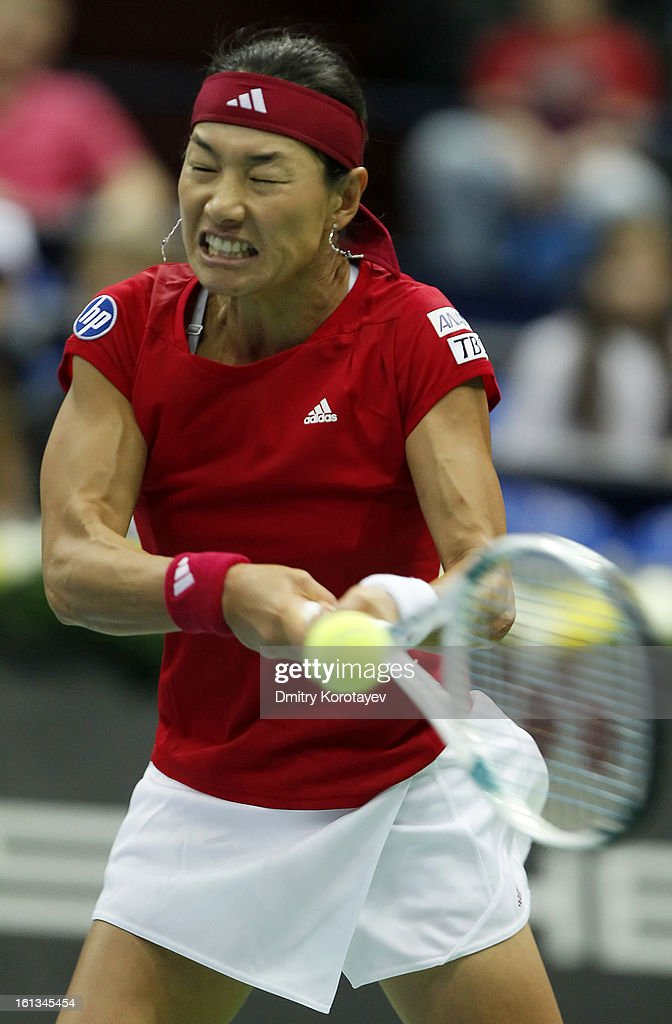 Kimiko Date-Krumm of Japan returns the ball against Ekaterina Makarova of Russia during day two of the Federation Cup 2013 World Group Quarterfinal match between Russia and Japan at Olympic Stadium on February 10, 2013 in Moscow, Russia.