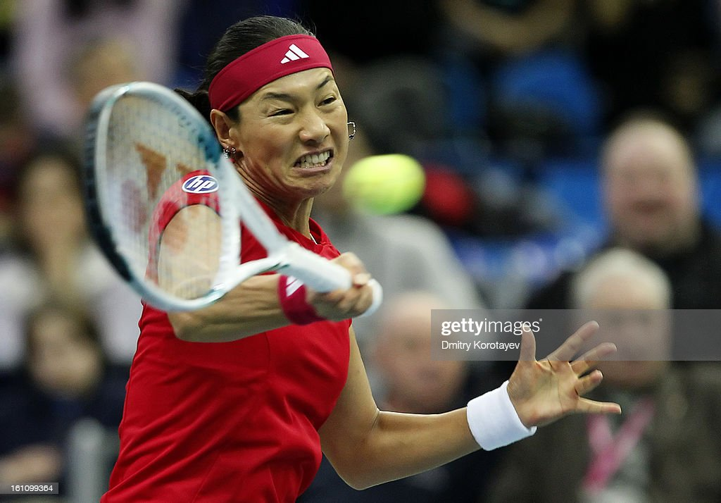 <a gi-track='captionPersonalityLinkClicked' href=/galleries/search?phrase=Kimiko+Date&family=editorial&specificpeople=623768 ng-click='$event.stopPropagation()'>Kimiko Date</a>-Krumm of Japan returns the ball against Maria Kirilenko of Russia during day one of the Federation Cup 2013 World Group Quarterfinal match between Russia and Japan at Olympic Stadium on February 09, 2013 in Moscow, Russia.